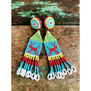 Vintage Native American Seed Bead Dangle Earrings